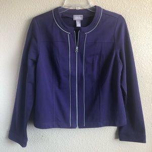 Chico's Exposed Zipper Long Sleeve Purple Jacket